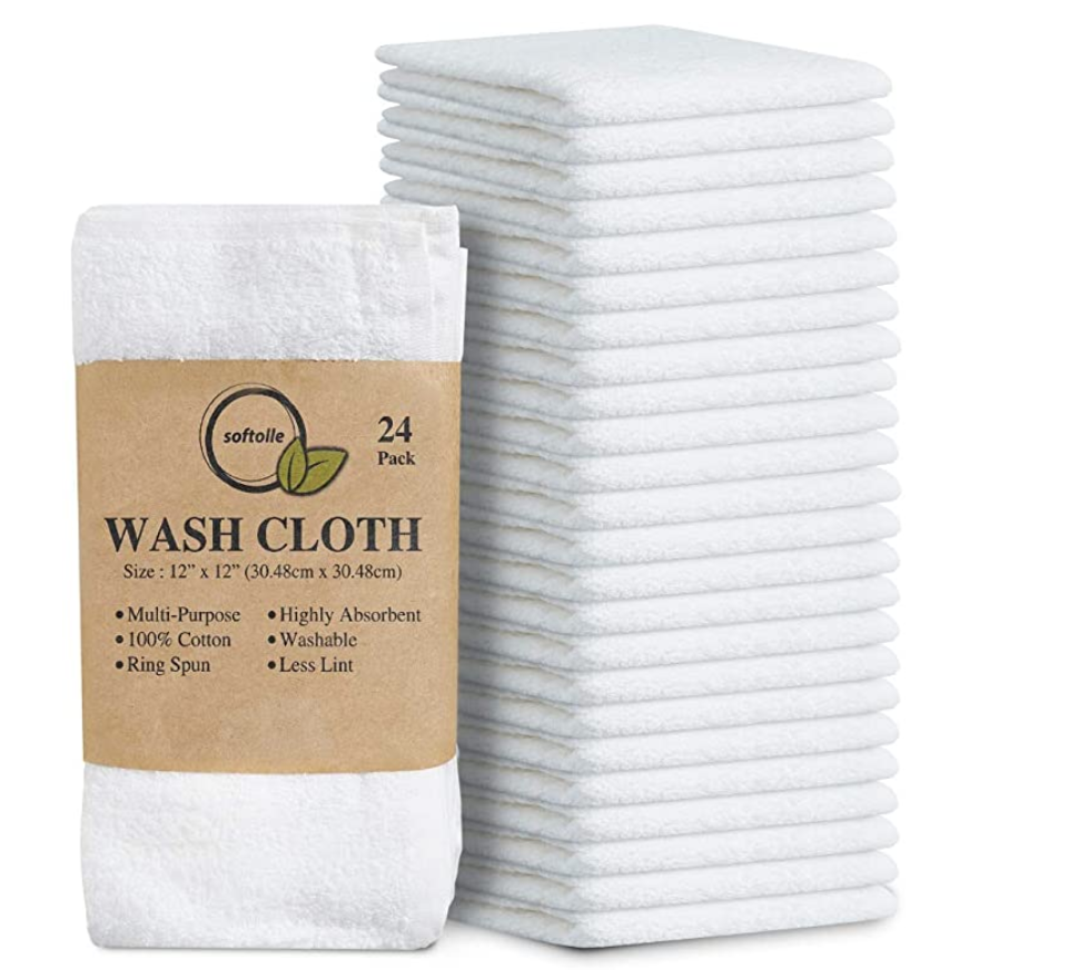 100 Cotton Ring Spun Wash Cloths Bulk Pack Of 24 Pieces Wascloths 12 12 Inches Wash Cloth For Face Highly Absorbent Soft And Flannel Alike Face Towels Premium Hotel Quality